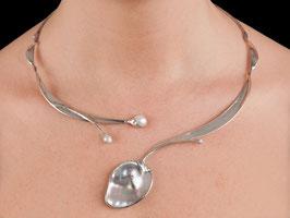 Halsschmuck Collier Silber 925 Mabe-Perle 1004S
