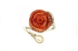 Fingerring mit Schaumkorallen-Rose und Süßwasserperle, 503S