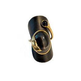 Fingerring aus Silber 935 (vergoldet) mit großem Sterndiopsid & Onyx-Kugel