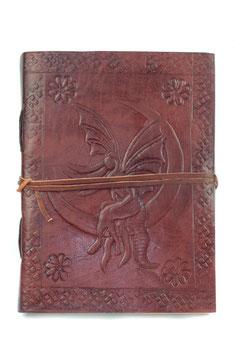 """Lederbuch Notizbuch Tagebuch Kladde Motiv """"Fee auf Mondsichel"""" 0055"""