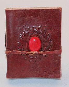 Notizbuch, Adressbuch, Leder, klein, mit verschiedenen Steinen, 018