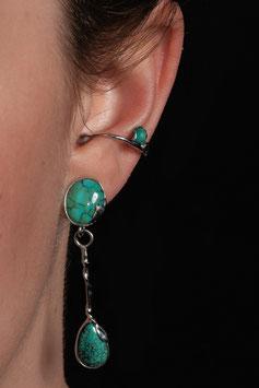 Ohrring mit Anhänger - geschliffener Türkis 916S