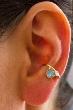 Kleiner Ohrring vergoldet mit blauem Quarz, 121G
