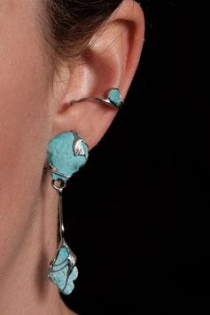 Ohrring mit Anhänger - ungeschliffener Türkis 914S