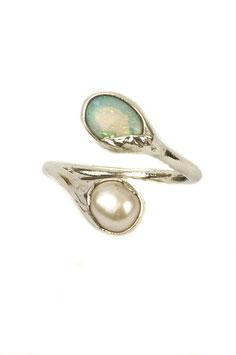 Fingerring mit Opal und Süßwasserperle, 505S
