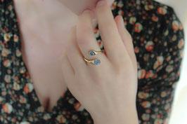 Ring Fingerring Silber 935 (vergoldet) mit zwei Saphiren 532G