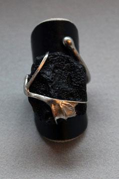 Ring Fingerring aus Silber 925 mit Tektit Rohstein 523S