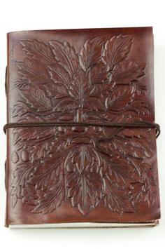 Lederbuch/Tagebuch/Notizbuch, Blättergesicht, braun (0122a) oder grün (0122b)