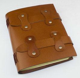 Lederbuch, Notizbuch, Tagebuch, braun, Lederlaschen, 0081