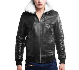 Moose Knuckles mens Black Balistic Leather Bomber
