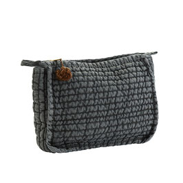 Madame Stoltz, Quilted Linen Clutch Olive/Brown Size: 21x8x17 cm