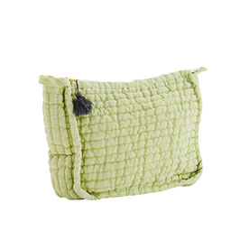 Madame Stoltz, Quilted Linen Clutch lime/grey,  Size: 21x8x17 cm
