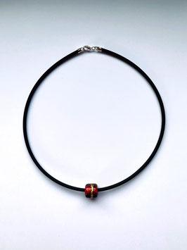 Glasperle Rot/Schwarz