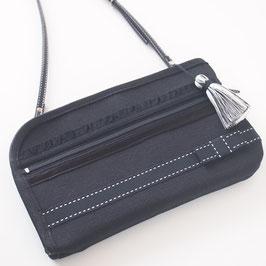 お財布ショルダーバッグ【ノーマルタイプ】グログラン生地・ブラック