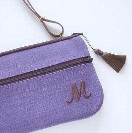 ラベンダー色の起毛インテリアファブリックで作った触り心地のいいお財布ショルダーバッグ【ラージサイズ】