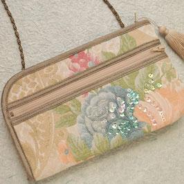 お財布ショルダーバッグ・ビーズ刺繍ゴブラン織り/ベージュ