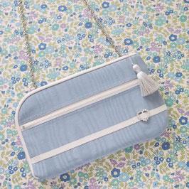 お財布ショルダーバッグ【ラージサイズ】モアレx小花柄
