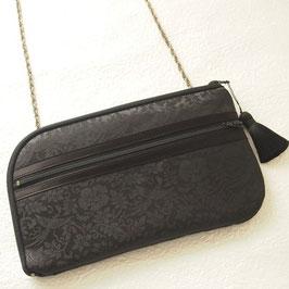 お財布ショルダーバッグ【ラージサイズ】綸子(りんず)ブラック