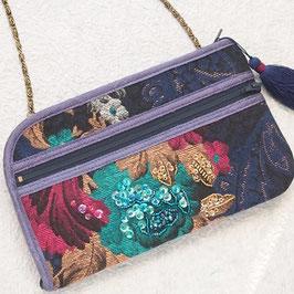 お財布ショルダーバッグ・ビーズ刺繍ゴブラン織り/ブルー