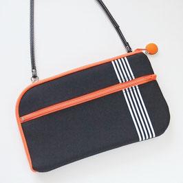 お財布ショルダーバッグ【ラージサイズ】ブラックxオレンジ