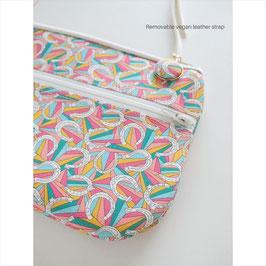 お財布ショルダーバッグ【ラージサイズ】リバティプリント・ダービーデイ|ピンク