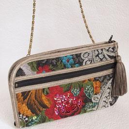 お財布ショルダーバッグ・ビーズ刺繍ゴブラン織り/ブラック