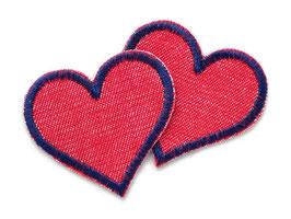 Herz Jeansflicken rot Mini 2er Set