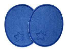 2 Jeansflicken Sternchen blau
