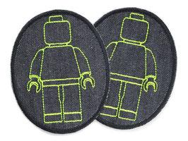 2 Knieflicken Legomännchen neon gelb