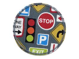 Hosenflicken Verkehrsschilder grau