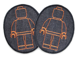 2 Knieflicken Legomännchen neon orange