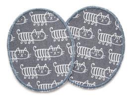 2 Knieflicken Katzen grau