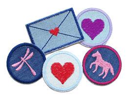 Set 5 Jeansflicken mini Herz