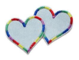 Jeansflicken Herz Regenbogen 2er Set, hellblau