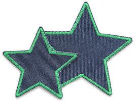 Stern Jeans Aufnäher grün