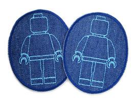 2 Knieflicken Legomännchen blau