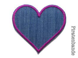 Jeans Flicken Herz lila