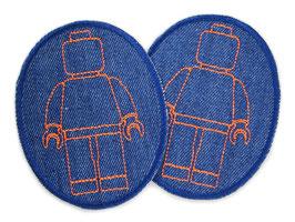 2 Knieflicken Legomännchen orange