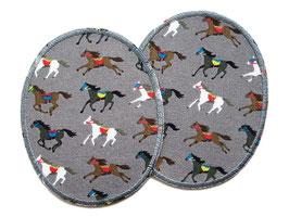 2 Knieflicken Pferde grau