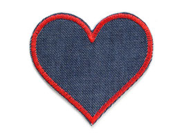 Jeans Flicken Herz rot