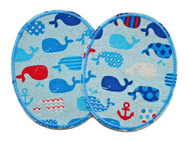 2 Knieflicken kleine Wale hellblau