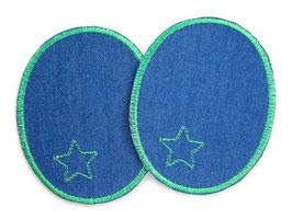 2 Jeansflicken Sternchen grün