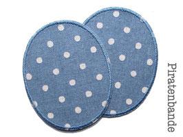 2 Knieflicken Pünktchen jeansgrau