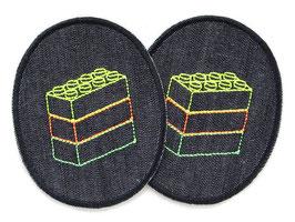 2 Knieflicken Legosteine neon