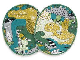 2 XL Knieflicken Dinosaurier grün