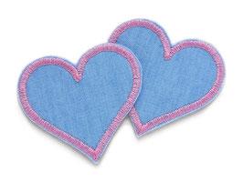 Herz Jeansflicken  rosa Mini 2er Set