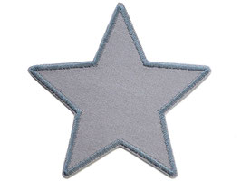 Stern Canvas grau Aufnäher