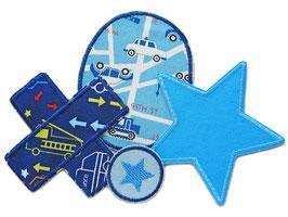Set 4 Hosenflicken Stern Auto blau