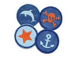 Set 4 Jeansflicken mini maritim