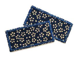 2 Trostpflaster Flicken Blümchen dunkelblau